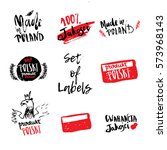 set of hand drawn poland labels ...   Shutterstock .eps vector #573968143