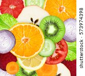 fruits and vegetables. mixed... | Shutterstock . vector #573974398