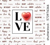 lettering love and glossy heart ... | Shutterstock .eps vector #573976366