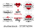valentines day typographic text ... | Shutterstock .eps vector #573976594