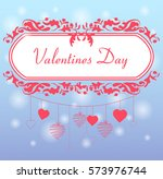 garland from red hearts... | Shutterstock .eps vector #573976744