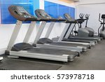 treadmills in a fitness hall | Shutterstock . vector #573978718