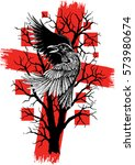 abstract raven with red grunge... | Shutterstock .eps vector #573980674