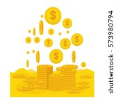 vector gold dropping coins... | Shutterstock .eps vector #573980794