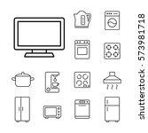 tv television monitor media... | Shutterstock .eps vector #573981718