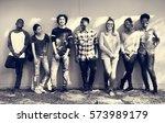 friends people group teamwork... | Shutterstock . vector #573989179