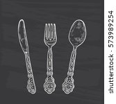 vintage cutlery set. hand drawn ... | Shutterstock .eps vector #573989254