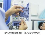 woman are given fluids... | Shutterstock . vector #573999904