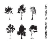 trees sketch set  hand drawing... | Shutterstock .eps vector #574002484