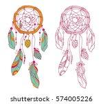 hand drawn dreamcatcher... | Shutterstock .eps vector #574005226