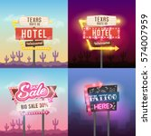 big set. vector retro sign... | Shutterstock .eps vector #574007959