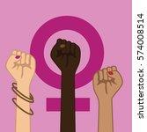 feminism power symbol. three... | Shutterstock . vector #574008514