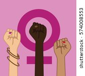 feminism power symbol. three... | Shutterstock .eps vector #574008553