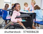 disabled schoolgirl smiling in... | Shutterstock . vector #574008628