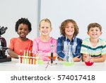 portrait of kids doing a... | Shutterstock . vector #574017418