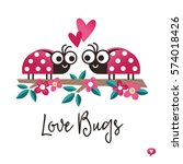 cute vector love card in red... | Shutterstock .eps vector #574018426