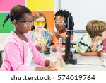 kids doing a chemical... | Shutterstock . vector #574019764