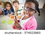 kids doing a chemical... | Shutterstock . vector #574023883