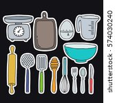 doodle icons  stickers. kitchen ... | Shutterstock .eps vector #574030240