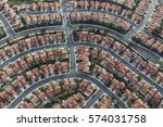 aerial view of modern suburban... | Shutterstock . vector #574031758