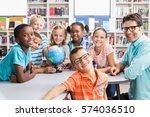portrait of teacher and kids... | Shutterstock . vector #574036510