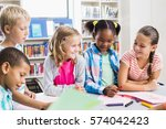 kids interacting with each... | Shutterstock . vector #574042423