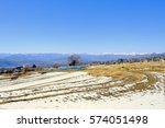 Small photo of Japanese winter agricultural district and snow-covered mountain chain of mountains