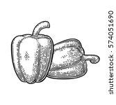 two sweet bell peppers. vector... | Shutterstock .eps vector #574051690