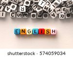 colorful english word cube on... | Shutterstock . vector #574059034