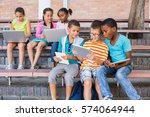 kids using digital tablet and... | Shutterstock . vector #574064944