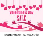 valentine's day sale. hanging... | Shutterstock .eps vector #574065040