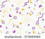 memphis seamless pattern.... | Shutterstock .eps vector #574065064