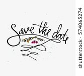 save the date card with flowers.... | Shutterstock .eps vector #574065274