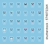 set of emoticons. tooth... | Shutterstock .eps vector #574072264