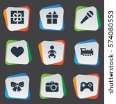 set of 9 simple birthday icons. ... | Shutterstock . vector #574080553