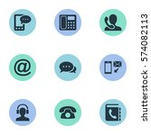 set of 9 simple connect icons.... | Shutterstock . vector #574082113