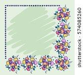 floral frame. hand drawn roses... | Shutterstock .eps vector #574085260