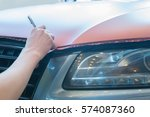 pasting of car carbonic plastic ... | Shutterstock . vector #574087360