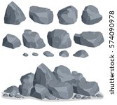 rock stone set cartoon. stones... | Shutterstock .eps vector #574090978