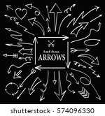 set of arrow hand drawn design... | Shutterstock .eps vector #574096330