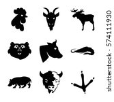Set Of 9 Animals Filled Icons...