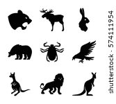 set of 9 animals filled icons... | Shutterstock .eps vector #574111954