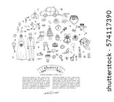 hand drawn doodle wedding day... | Shutterstock .eps vector #574117390