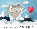 paper plane flying love text... | Shutterstock .eps vector #574123210