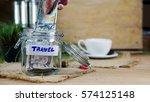 money savings for travel on the ... | Shutterstock . vector #574125148