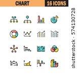 diagram flat icon set.... | Shutterstock .eps vector #574130728