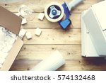 preparing for moving. packing... | Shutterstock . vector #574132468