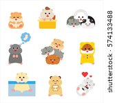 cute hamster character behavior ... | Shutterstock .eps vector #574133488