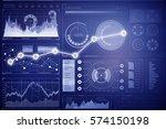 stock market chart on blue... | Shutterstock . vector #574150198