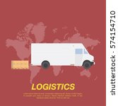 white truck with cargo boxes on ... | Shutterstock .eps vector #574154710